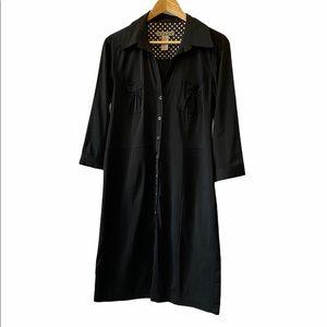 NWOT NYLON Black Sateen Button Up Shirt Dress 10
